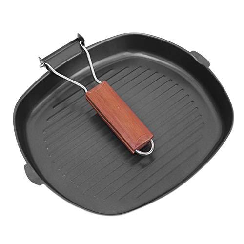 SFNTION Bistecchiera a induzione 24 cm, Padella Portatile Antiaderente per Bistecca, Pesce e Barbecue, bistecchiera forgiata con Scarico Facile del Grasso, Filtro, Forno Sicuro