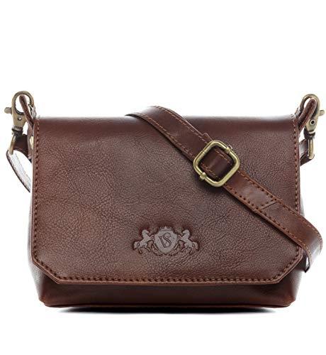 SID & VAIN Umhängetasche klein echt Leder KERBY S Schultertasche Handtasche mit Schultergurt Ledertasche Unisex braun