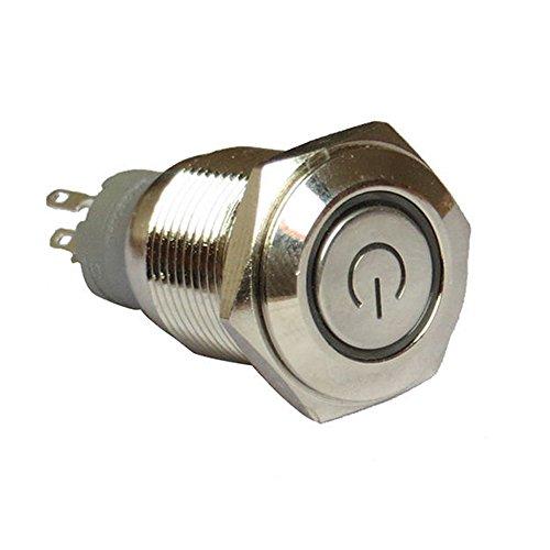 Supmico 16mm symbole de puissance Vert angle oeil LED lumière 12V bouton voiture interrupteur à bascule en métal
