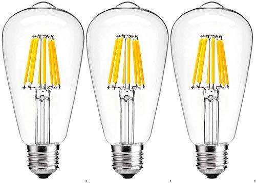 Bonlux 8W E27 ST64 LED Ampoule à Filament Dimmable Vintage Edison à vis Ampoule Décoration Pas de Scintillement 750 lumen équivalent 75W Halogène Blanc Naturel 4000k(Lot de 3)