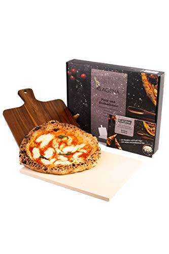 KLAGENA Pizzastein-Set für Backofen & Grill, inkl. Pizzastein & Pizzaschaufel aus hochwertigem Akazienholz, Brotbackstein-Set aus Cordierit 38x30x1,5 cm