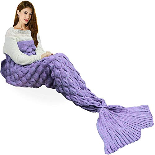 "yashidali Wearable Mermaid Tail Blanket Crochet, All Seasons Warm Knitted Bed Blankets Sofa Living Room Quilt for Kids and Adults, Fish-Scales Pattern, 76.8"" x 35.5"" (195 x 90cm), Dream Violet"