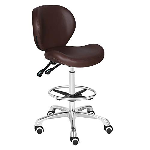 Kaleurrier Adjustable Stools Drafting Chair with Backrest & Foot Rest,Tilt Back,Peneumatic Lifting Height,Swivel Seat,Rolling wheels,for Studio,Dental,Office,Salon and Counter,Home Desk Chairs (Brown)