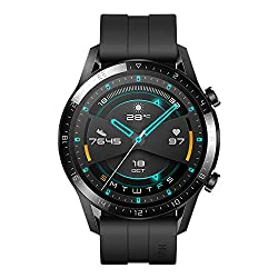 HUAWEI Watch GT 2 Sport (Matte Black, 46mm, 2 Weeks Battery, Music Playback, Answer Calls (with Phone Connection), 5ATM Water Resistant, Heartrate Monitor, Accurate GPS,SpO2, Kirin A1, AMOLED),HUAWEI,Latona-B19S
