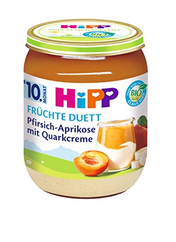 HiPP Pfirsich-Aprikose mit Quark-Creme, 6er Pack (6 x 160 g)