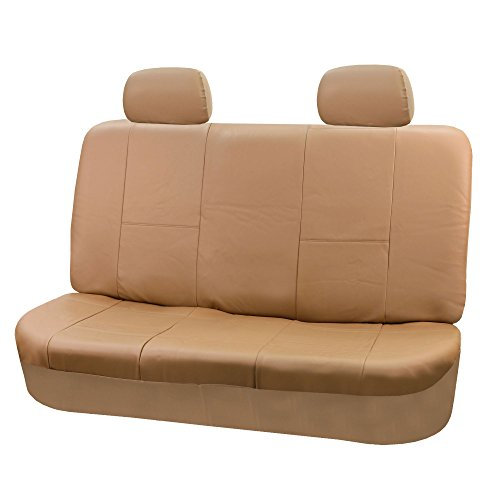 FH Group FH-PU001R012 Universal 4pcs Solid Bench Leather Seat Cover Tan- Fit Most Car, Truck, SUV, or Van