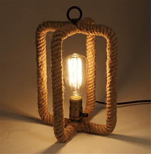 ZHENYUE schrijftafel Lamps® Retro E27 bureaulamp lamp bedlampje vintage industrie creatieve hennep touw tafellamp lamp met button schakelaar voor slaapkamer bar café ZHENYUE