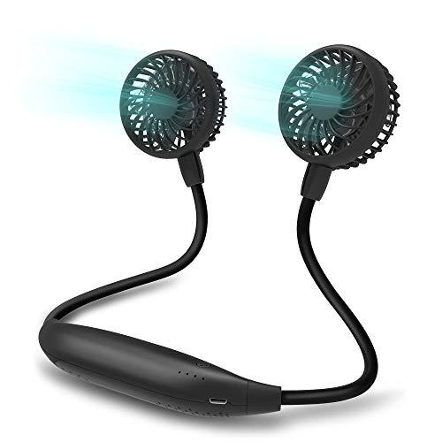Portable Neck Fan, 2600mAh Battery Operated Sport Fan Ultra Quiet Hands Free USB Fan with 6 Speeds, Strong Wind, 360° Adjustable Wearable Personal Fan for Home Office Outdoor Travel (Black)