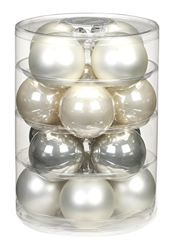 Inge-glas 15181D004 mO-Boule 75 mm (Lot de 16 a Winter's Tail-Mix Blanc Opale Mat/Champagne/Light Grey Pearl
