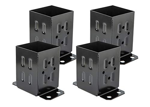 ADLER Fence Post Base Brackets Heavy Duty Steel Powder-Coated Anchor Support Use for 4x4 Wood, Black (4 Pack)