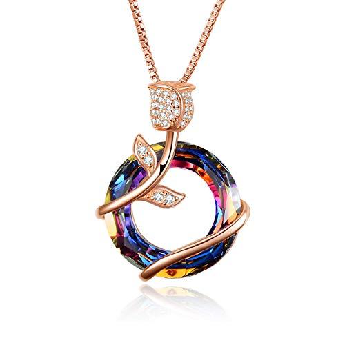 AOBOCO 925 Sterling Silber Rose Kette Schmuck für Damen, mit Kristall Schmuck für Ehefrau, Freundin (Roségold-Vulkankristall)