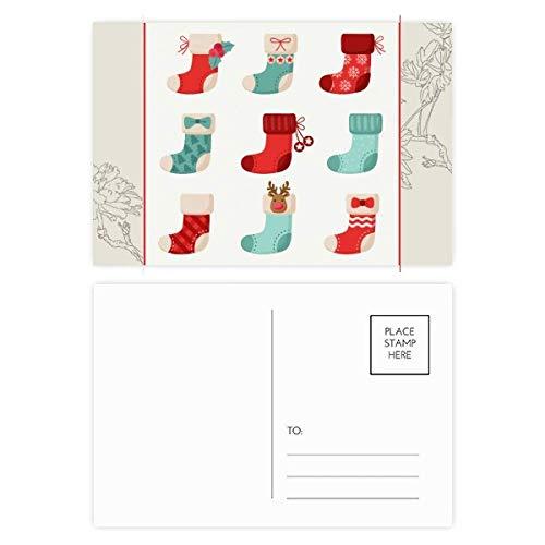 DIYthinker Vrolijk Kerst Kleurrijke Sok Illustratie Bloem Postkaart Set Thanks Card Mailing Side 20 stks 5.7 inch x 3.8 inch Multi kleuren