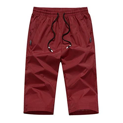 Sunenjoy Homme Bermuda de Bain Plage Natation Shorts Cordon de Serrage Pantalon Court de Sport Pantacourt Séchage Rapide Pants Slim Outdoor Grande Taille M-4XL (L, Rouge)