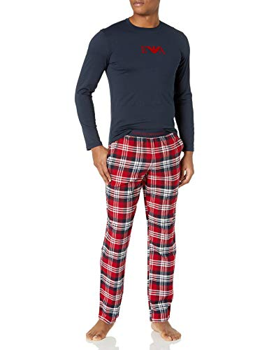 Emporio Armani Herren Pyjamas Pyjama Set, Kariert Rubin/Marine, Small