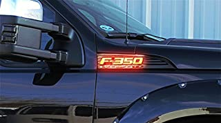 Illuminated Emblems LED for Ford F350 Emblems, 2-Piece Kit Includes Driver & Passenger Side Fender Emblems in Black Case - F350 in Amber Illumination