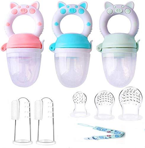 Voarge Fruchtsauger, Fruchtsauger für Baby & Kleinkind Baby Fruchtsauger Schnuller, BPA-frei, Schätzchen Schnuller Gemüse sauger für Schätzchen (Pink-Grün-Blau)