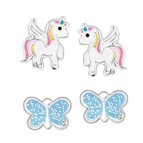 FIVE-D Set di 2 Paia di Orecchini per Bambini, Unicorno e Farfalla Glitterata, in Argento 925, in Confezione Regalo e Argento, Colore: Blau-Bunt, cod. set169a