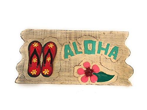 Norma Lily Aloha Hausschuhe–Weiß Gewaschen Treibholz Schild 30,5cm
