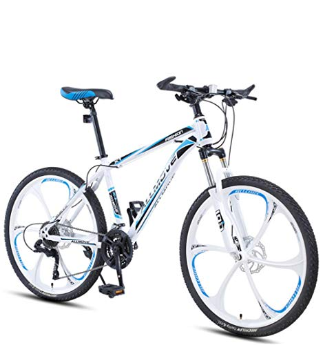 DGAGD 24 inch Mountain Bike Male and Female Adult Variable Speed Racing Ultra-Light Bicycle six Cutter Wheels-White Blue_30 Speed