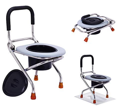 TANGIST Asiento de Inodoro portátil, Aseo portátil para Adultos y sillón de la Cama de la Cama, Adecuado para los Ancianos/niños Que acampan en el Interior de los niños. Evita Resbalones