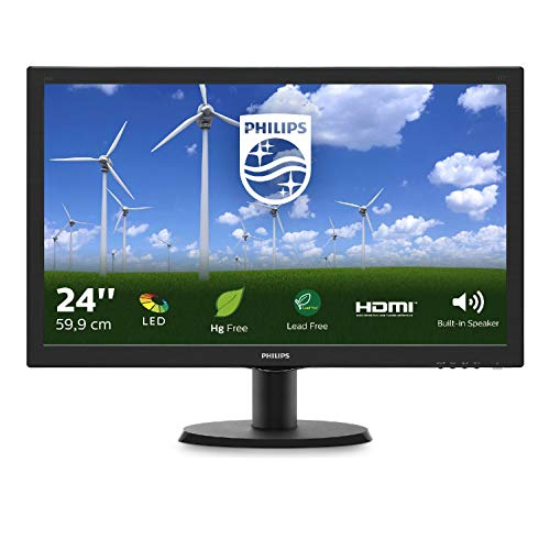 Philips 243S5LDAB/00 59,9 cm (23,6 Zoll) Monitor (VGA, DVI, HDMI, 1ms Reaktionszeit, 60 Hz, 1920 x 1080) schwarz