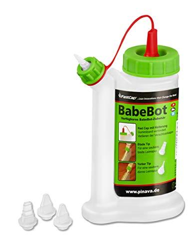 Pinava® Leimflasche - Original BabeBot (ca. 120ml) - Kein Drehen, kein Schütteln & kein Warten - Leimspender für Holzleim Inkl. 4 Spitzen - Sauberes Auftragen & Dosieren - FastCap Pinava Edition