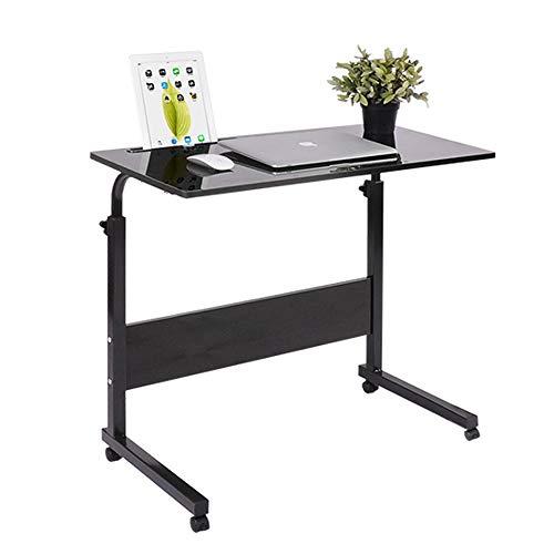 RASHION Height Adjustable Mobile Table, Workstation Laptop Overbed Home Computer Desk with Metal Frame & Rolling Castors (black)
