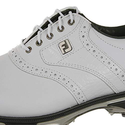 FootJoy mens Dryjoys Tour Previous Season Style Golf Shoes, White/White Croc, 9.5 US