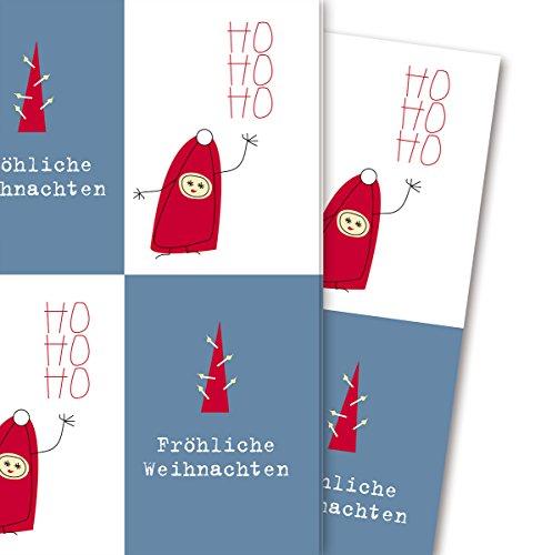 Grappig kerstcadeaupapier met kabouters en dennenbomen: vrolijke kerst, HO HO HO HO (4 vellen, 32 x 48 cm) decorpapier, papier om in te pakken, voor leuke cadeauverpakking en verrassingen.