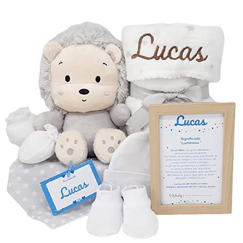 Happy Animals de Mababy | Canastilla Bebé | Set regalo recién nacido| Cesta de bebe Para regalo | Regalo Personalizado Bebe (Leon Gris)