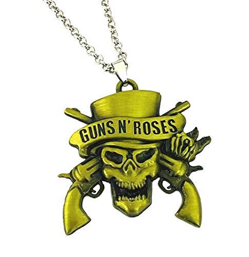 Guns N Roses - Collar con colgante de calavera de bronce con logotipo de la muerte con cadena de plata, disfraz tribal gótico, punk, tibetano, regalo para hombres, niños y mujeres