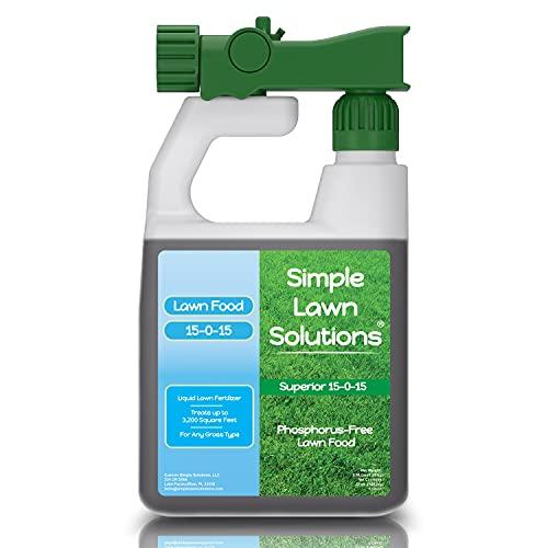 Superior Nitrogen & Potash 15-0-15 NPK- Lawn Food Quality Liquid Fertilizer - Concentrated Spray- Any Grass Type- Simple Lawn Solutions Green, Grow, Health & Strength- Phosphorus-Free (32 Ounc...