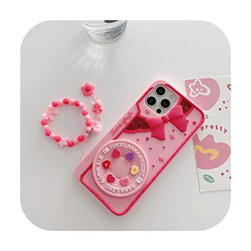 Funda para iPhone 12Pro 11Pro MAX XS 7 8 Plus con diseño de corazón y lazo, color rosa