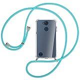 mtb more energy® Collar Smartphone Compatible con LG X Power 3, XPower 2 (5.5'') - Turquesa - Funda Protectora ponible - Carcasa Anti Shock con Cuerda Correa