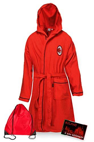 Tex family A.C. Milan Peignoir pour enfant en micro-éponge, rouge, noir, avec sac à dos de piscine et carte Milano est – 12 – 14 ans