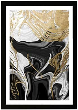 Wynwood Studio Abstract Framed Wall Art Prints Ripples Crystals Home D cor 13 x 19 Gold Black product image
