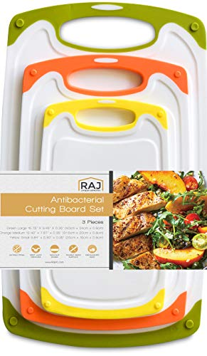 Raj Plastic Cutting Board Reversible Cutting board, Dishwasher Safe, Chopping Boards, Juice Groove, Large Handle, Non-Slip, BPA Free (Set of Three, Green, Orange,Yellow)