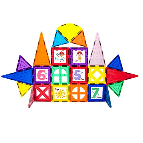 PicassoTiles 42 Piece Magnetic Building Blocks with 32pc Tiles and 10pc Click-in Educational Graphic Arts Magnet Construction Toy Set STEM Learning Playset Child Brain Development Stacking Playboard