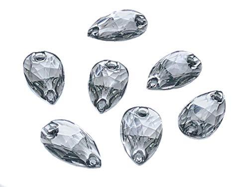Eimass® Strasssteine/Glitzersteine, Tropfenform, zum Aufnähen- oder Aufkleben, flache Rückseite, für Kostüme,50Stück., clear crystal, 11 x 18 mm