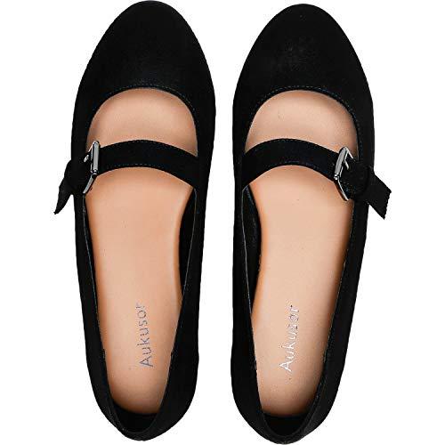 Aukusor Women's Wide Width Flat Shoes - Cozy Pointy Toe Slip On Ballet Flat.