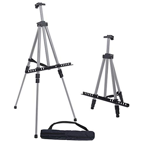 U.S. Art Supply 66' Sturdy Silver Aluminum Tripod Artist Field and Display Easel Stand - Adjustable Height 20' to 5.5 Feet, Holds 32' Canvas - Floor and Tabletop Displaying, Painting - Portable Bag