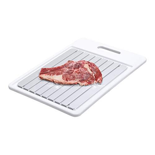 GEMITTO Auftauplatten Mit Tablett, Rapid defrosting Tray Schnellere Abtaugeschwindigkeit Aufhängbar auftauplatte 34x24x1.3cm Weißes Tablett und Whiteboard