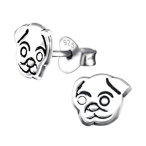 Laimons Mädchen Kids Kinder-Ohrstecker Ohrringe Kinderschmuck Hund Hündchen Welpe Boxer oxidiert glanz aus Sterling Silber 925
