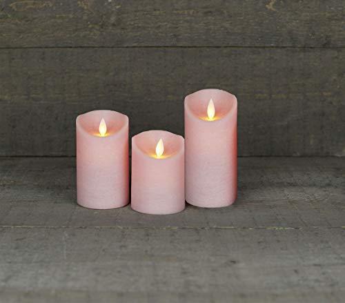 Coen Bakker 3er Set Kerze LED Echtwachskerze 10 cm + 12,5 cm + 15 cm Kerze Ø 7,5 cm viele Farben mit Timer flackender Docht Wachskerze Kerzen, Farbe:Rosa