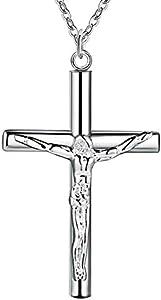 Onefeart Plata Esterlina Colgante Collar Para Mujeres Chicas Jesús Cruces Colgante Para 45CMx32X20MM
