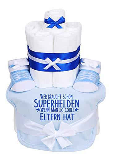 Trend Mama Windeltorte hellblau Junge Lätzchen Babysocken Wer braucht schon Superhelden wenn man so coole Eltern hat