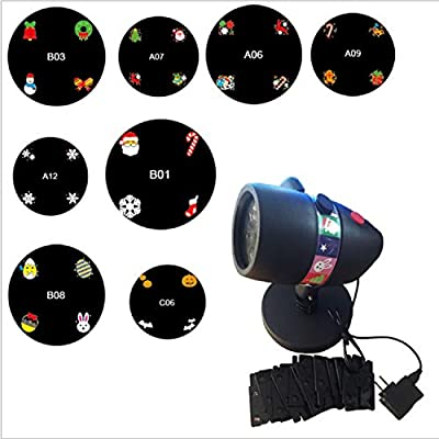 YAMADIE 10PCS Waterproof Christmas Projector LED Christmas Pattern Light Outdoor Lawn Light Landscape IP65 Waterproof 180° Rotating Decorative Light
