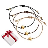 Set di 3 bracciali per Amicizia Pentacolo in Oro Rosa per Donna Ragazza, Stella filigrana Corda Sottile Amore Braccialetto da Regalo per Coppia Migliore Amico Natale Festa della Mamma Compleanno