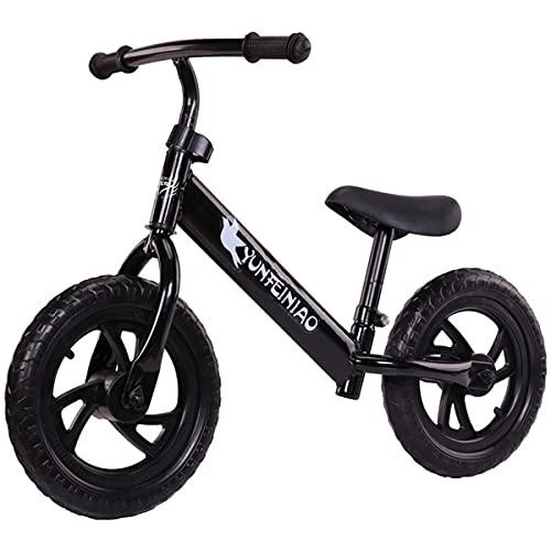 COSCANA Bige Bike Bike Titanio Marco De Acero De Titanio Sin Pedal Bicicleta De Balance De Balance De Bicicleta para Niños Y Niños Pequeños 2-6 Años De Edad, 12'(Color:Negro)
