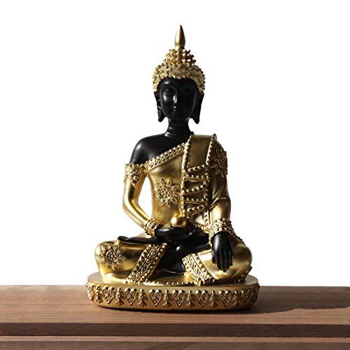Carefree Fish Black Thai Buddha Statue Golden Buda Figurine Indoor Decoration 8Inch
